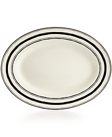 """Lenox  Around The Table Collection Stoneware Stripe 16"""" Oval Platter"""