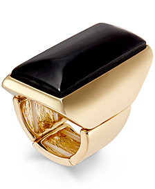 Thalia Sodi Gold-Tone Jet Rectangular Stone Ring, Created for Macy's