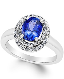 Tanzanite (1-1/2 ct. t.w.) and Diamond (1/3 ct. t.w.) Ring in 14k White Gold