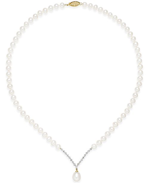 Macy's Cultured Freshwater Pearl (8mm) and Diamond Accent Necklace in 14k Gold