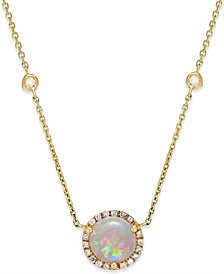 Opal (1-1/10 ct. t.w.) and Diamond (1/5 ct. t.w.) Pendant Necklace in 14k Gold