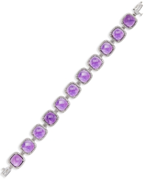 Amethyst (60 ct. t.w.) and Diamond (1-3/4 ct. t.w.) Tennis Bracelet in 14k White Gold