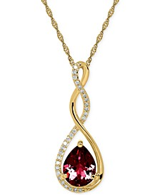 """Birthstone and Diamond (1/10 ct. t.w.) 18"""" Pendant Necklace in 14k White or Yellow Gold"""
