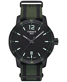 Tissot Unisex Swiss Quickster Black and Green Synthetic Strap Watch 40mm T0954103705700