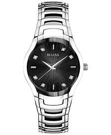 Bulova Women's Diamond Accent Stainless Steel Bracelet Watch 30mm 96P146