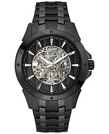 Bulova Men's Automatic Black-Tone Stainless Steel Bracelet Watch 40mm 98A147