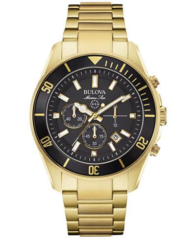 Bulova Men's Chronograph Marine Star Gold-Tone Stainless Steel Bracelet Watch 43mm 98B250