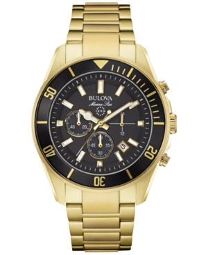 Bulova Men's Chronograph Marine Star Gold-Tone Stainless Steel Bracelet Watch 43mm 98B250