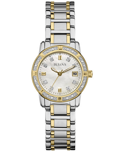 Bulova Women S Diamond Accent Two Tone Stainless Steel