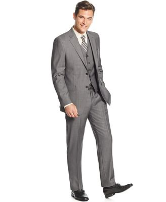 Lauren Ralph Lauren Slim-Fit Mid-Grey Pindot Vested Suit - Suits ...