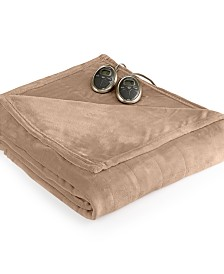 Slumber Rest Velvet Plush Heated Twin Blanket by Sunbeam