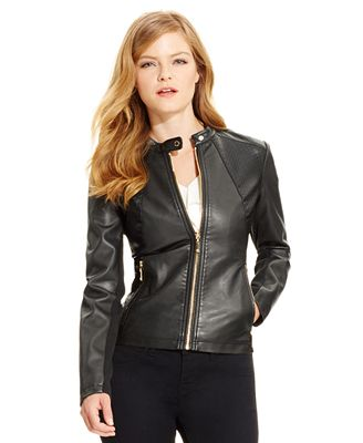 Ivanka Trump Faux-Leather Moto Jacket, Black - Jackets - Women ...