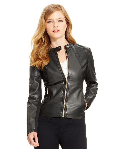 82aa9bb6172 ... Ivanka Trump Faux-Leather Moto Jacket