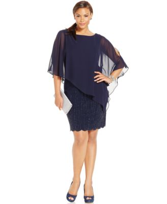 Xscape Plus Size Embellished Chiffon Capelet Shift Dress