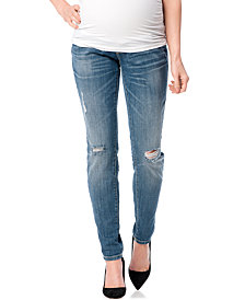 Indigo Blue Maternity Distressed Skinny Jeans, Bright Blue Wash