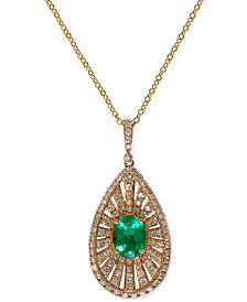 Brasilica by EFFY Emerald (1-1/10 ct. t.w.) and Diamond (4/5 ct. t.w.) Pendant Necklace in 14k Gold