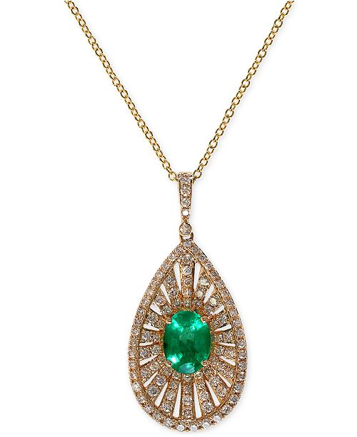 EFFY Collection Brasilica by EFFY Emerald (1-1/10 ct. t.w.) and Diamond (4/5 ct. t.w.) Pendant Necklace in 14k Gold