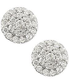 Diamond Cluster Stud Earrings in 14k White Gold (1/2 ct. t.w.)