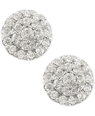Diamond Cluster Stud Earrings In 14k White Gold 1 2 Ct T W Earrings Jewelry Amp Watches