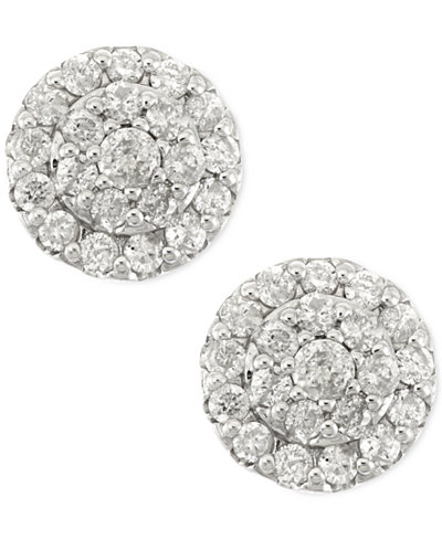Diamond Cluster Stud Earrings in 14k White Gold (1/2 ct. t.w.)