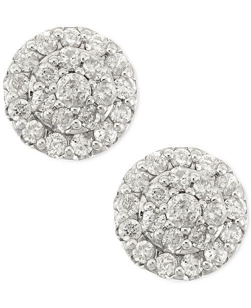 e7f7349b7 Macy's Diamond Cluster Stud Earrings in 14k White Gold (1/2 ct. t.w. ...