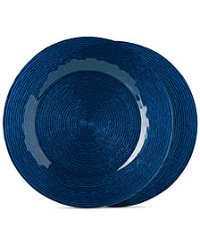 Jay Imports Glass Wave Cobalt Blue Charger Plates, Set of 2
