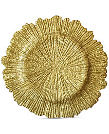 Jay Imports Glass Gold-Tone Reef Charger Plate