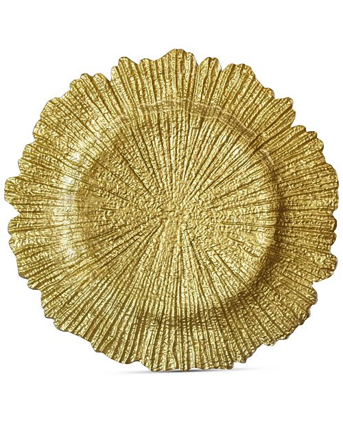 American Atelier Jay Import Glass Gold-Tone Reef Charger Plate