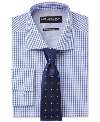 Nick Graham Blue Check Dress Shirt And Navy Multi Color