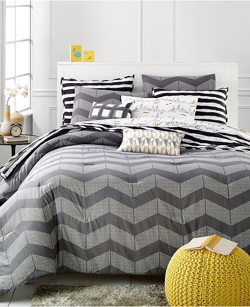 Martha Stewart Collection CLOSEOUT! Grey Spot Chevron Full/Queen Comforter Set, Created for Macy's