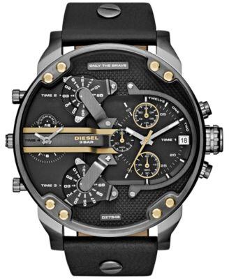 Men's Chronograph Mr. Daddy 2.0 Black Leather Strap Watch 66x57mm DZ7348