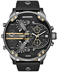 Diesel Men's Chronograph Mr. Daddy 2.0 Black Leather Strap Watch 66x57mm DZ7348