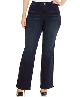 INC International Concepts Plus Size Slim Tech Bootcut Jeans, Only ...