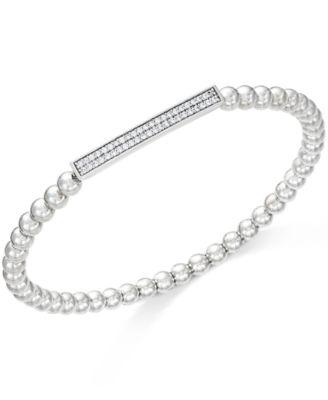 ™ Diamond Bar Beaded Stretch Bracelet (1/6 ct. t.w.) in Sterling Silver, Created for Macy's