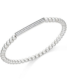 wrapped ™ Diamond Bar Beaded Stretch Bracelet (1/6 ct. t.w.) in Sterling Silver, Created for Macy's