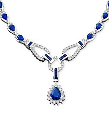 Sapphire (12-1/3 ct. t.w.) and Diamond (1-1/5 ct. t.w.)Toggle Necklace in 14k White Gold (also in Ruby & Emerald)