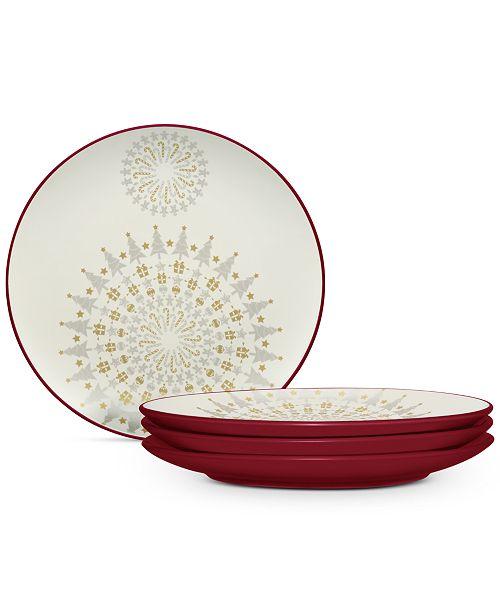 Noritake Dinnerware Set of 4 Colorwave Raspberry Holiday Plates