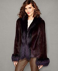 The Fur Vault Fox-Trim Mink Fur Jacket