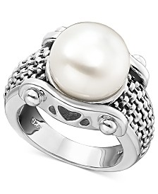 White Freshwater Pearl Braid-Band Ring in Sterling Silver (11mm)