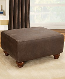 Stretch Faux Leather Ottoman Slipcover