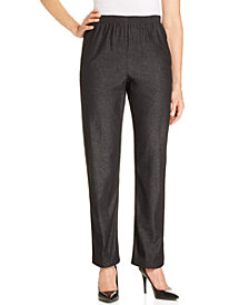Alfred Dunner Denim Pull-On Straight-Leg Pants