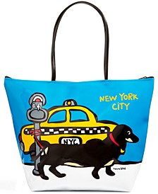 NYC Dachshund Medium Zip Tote