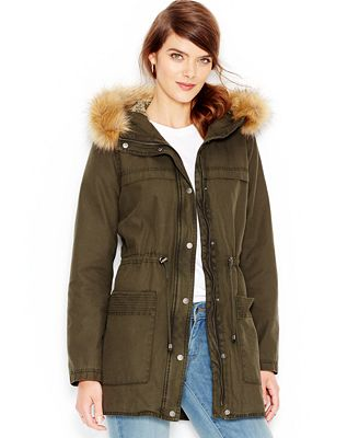 Levi's® Faux-Fur-Trim Hooded Parka Jacket - Coats - Women - Macy's