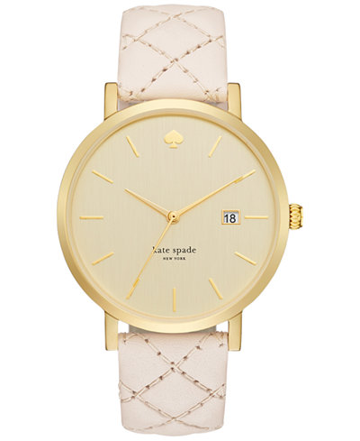 kate spade new york Women's Metro Grand Quilted Vachetta Leather Strap Watch 38mm 1YRU0844