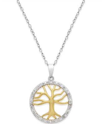 Diamond Tree of Life Pendant Necklace (1/10 ct. t.w.) in Sterling Silver and 18k Gold over Sterling Silver