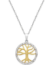 Diamond Family Tree Pendant Necklace (1/10 ct. t.w.) in Sterling Silver and 18k Gold over Sterling Silver