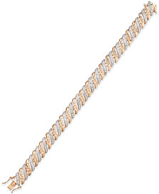 Diamond Accent Glitz Bracelet in 18k Rose Gold-Plated Sterling Silver and Rhodium