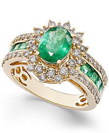 Emerald (2-1/5 ct. t.w.) and Diamond (3/4 ct. t.w.) Ring in 14k White Gold (Also Available in Ruby & Sapphire)