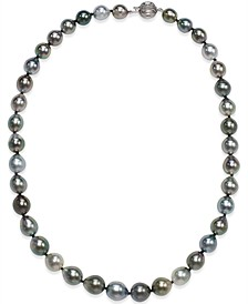 Tahitian Multicolor Pearl (8-10mm) Strand Necklace in 14k White Gold