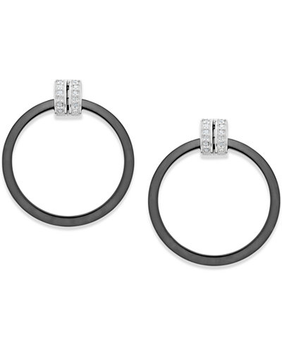 Diamond and Ceramic Circle Earrings (1/5 ct. t.w.) in Sterling Silver